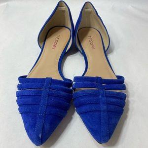 Tesori Lindy Lea Flat royal blue Slip-on shoes